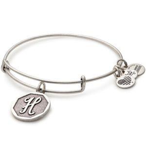 Alex & Ani H Initial Silver Tone Charm Bracelet